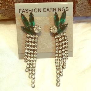 Green cut crystal rhinestone pierce dangle earring